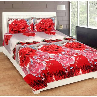 Living Creation Designer Cotton Double Bedsheet With 2 Pillow Covers(Red-Bedsheet-01)