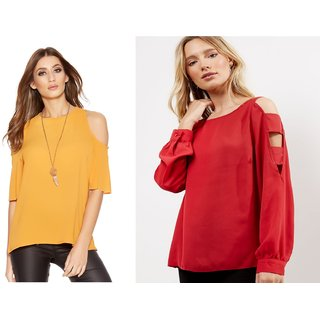fd4a5bbc88afd Buy Fabrange Women s Combo Of Mustard And Red Cold Shoulder Tops ...