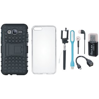 Samsung J7 2016 ( Model J710 ) Shockproof Cover with Memory Card Reader, Silicon Back Cover, Selfie Stick, Earphones, OTG Cable and USB LED Light
