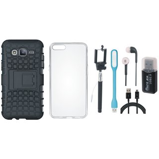 Samsung J7 2016 ( Model J710 ) Shockproof Cover with Memory Card Reader, Silicon Back Cover, Selfie Stick, Earphones, USB LED Light and USB Cable