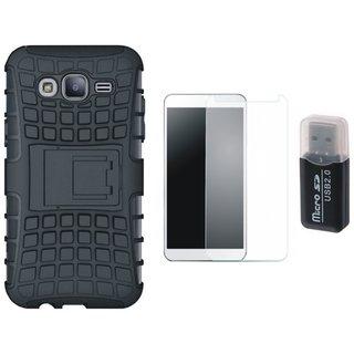Samsung J7 2016 ( Model J710 ) Shockproof Tough Defender Cover with Memory Card Reader, Tempered Glass