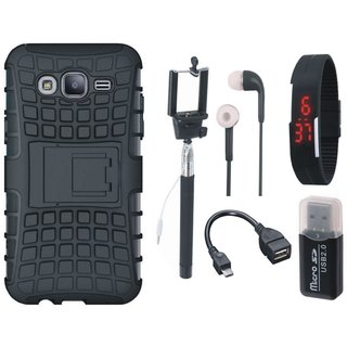 Samsung J7 Max Defender Tough Hybrid Shockproof Cover with Memory Card Reader, Selfie Stick, Digtal Watch, Earphones and OTG Cable