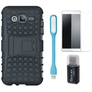 Samsung J7 Max Defender Tough Armour Shockproof Cover with Memory Card Reader, Tempered Glas and USB LED Light