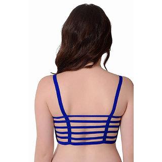 cac4532eacef6 Sunshine Enterprise Blue Color 6 Straps Padded Bralette Bra (removable  pads)(Size FREE)