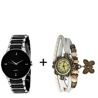 VK SALES Combo Of Black Silver Quartz Analog Watch For