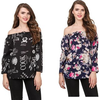 Amiable Casual 3/4th Sleeve Printed Women Black/blue Top