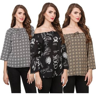 Amiable Casual 3/4th Sleeve Printed Women Black, White, Brown Top