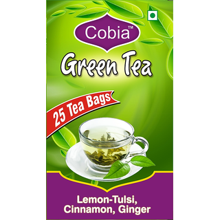 Cobia Green Tea (Lemon-Tulsi, Cinnamon GInger) Pack OF 25 Tea Bags