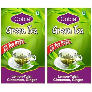 Cobia Green Tea (Lemon-Tulsi, Cinnamon GInger) Pack OF 2(2x25 Tea Bags)