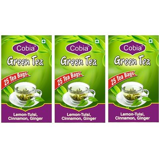 Cobia Green Tea (Lemon-Tulsi, Cinnamon GInger) Pack OF 3(3x25 Tea Bags)