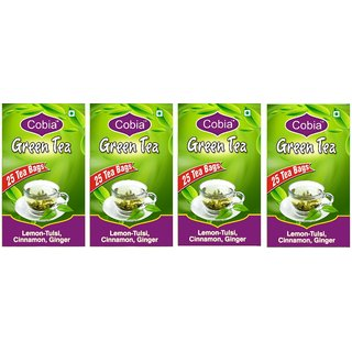 Cobia Green Tea (Lemon-Tulsi, Cinnamon GInger) Pack OF 4(4x25 Tea Bags)