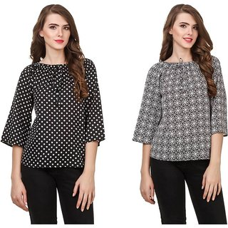 Amiable Casual 3/4th Sleeve Printed Women Black Top