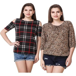 Amiable Casual 3/4th Sleeve Printed Women's Black/Brown Top