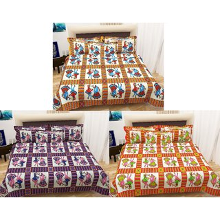 Book Packaging Set of  3 Assorted Colors -iLiv Pure Cotton Double Bedsheet With Pillow Covers