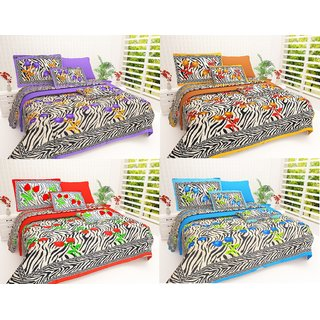 Book Packaging Set of  4 Assorted Colors -iLiv Pure Cotton Double Bedsheet With Pillow Covers