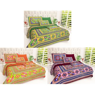 Set of 3 Assorted Colors -iLiv Pure Cotton Double Bedsheet With Pillow Covers