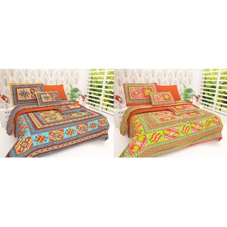 Book Packaging Set of  2 Assorted Colors -iLiv Pure Cotton Double Bedsheet With Pillow Covers