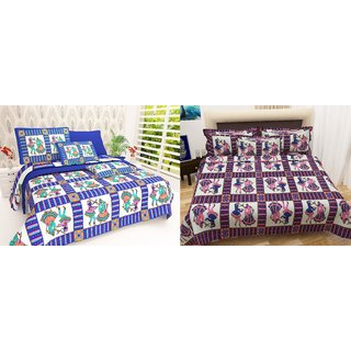 Book Packaging Set Of 2 Assorted Colors  ILiv Pure Cotton Double Bedsheet  With Pillow Covers