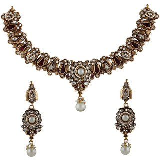 Anuradha Art Golden Finish Studded White Colour Stone Traditional Necklace Set For Women/Girls