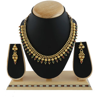 Anuradha Art Golden Finish Studded Maroon-Green Colour Stone Wonderful Traditional Necklace Set For Women/Girls