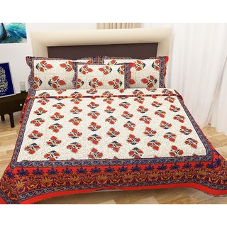 iLiv Cotton Double Bedsheet With 2 Pillow Covers