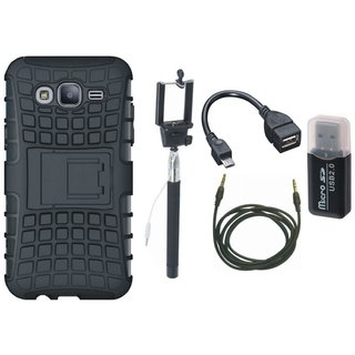 Moto E4 Shockproof Kick Stand Defender Back Cover with Memory Card Reader, Selfie Stick, OTG Cable and AUX Cable