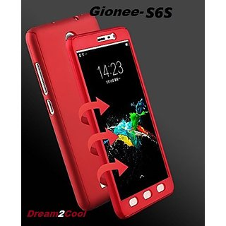 finest selection de345 90e11 Gionee S6s 360 Degree Ipaky-Full Body Protection (Front+ Back + Temper  Glass) Case Cover ,Red