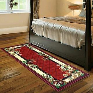 Luxmi Beautiful looking flowers Design Bed side Runner - Mahroon