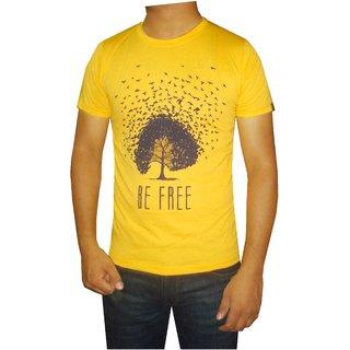Avog Men's Round Neck Half Sleeves Yellow Cotton T-Shirt