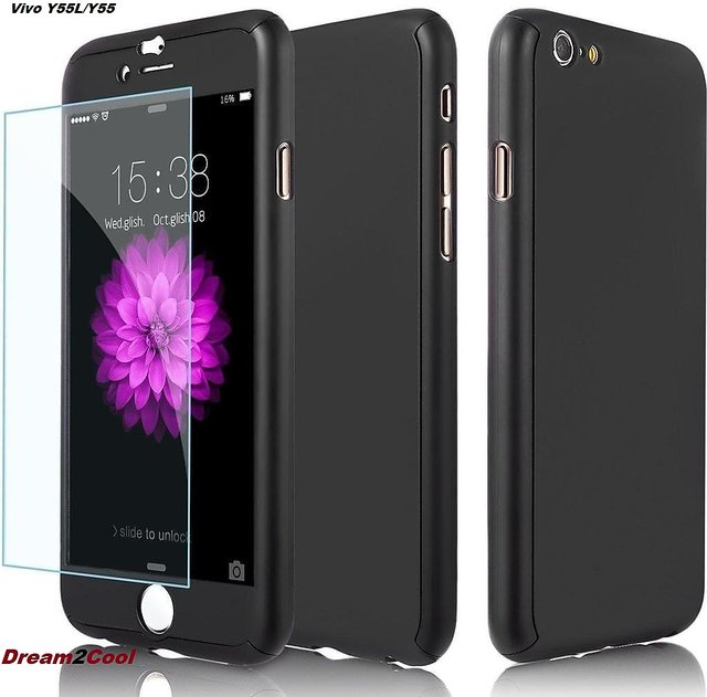 hot sale online ac907 2ced6 Vivo Y55/Y55L/Y55s 360 Degree Ipaky-Full Body Protection (Front+ Back +  Temper Glass) Case Cover ,Black