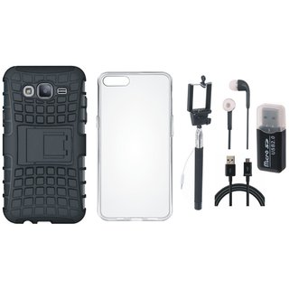 Samsung J7 Max Shockproof Tough Defender Cover with Memory Card Reader, Silicon Back Cover, Selfie Stick, Earphones and USB Cable