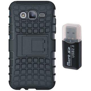 Samsung C7 Pro Shockproof Kick Stand Defender Back Cover with Memory Card Reader
