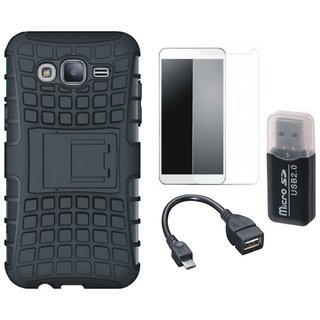 Samsung C7 Pro Shockproof Kick Stand Defender Back Cover with Memory Card Reader, Tempered Glass and OTG Cable