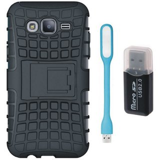 Samsung C9 Pro Defender Tough Armour Shockproof Cover with Memory Card Reader, USB LED Light