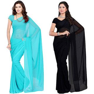 RK Fashions Multicolor Georgette Plain Saree With Blouse
