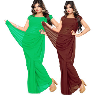 RK Fashions Multicolor Georgette Plain Saree With Blouse