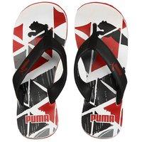 Puma Unisex Stamp Ind Black Red Flip Flops