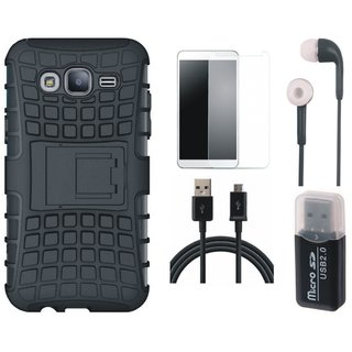 Samsung J5 Prime Shockproof Tough Armour Defender Case with Memory Card Reader, Tempered Glass, Earphones and USB Cable
