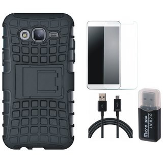 Samsung J5 Prime Shockproof Tough Armour Defender Case with Memory Card Reader, Tempered Glass and USB Cable