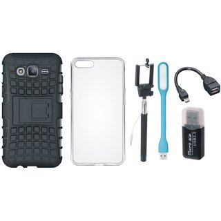 Samsung J5 Prime Shockproof Kick Stand Defender Back Cover with Memory Card Reader, Silicon Back Cover, Selfie Stick, LED Light and OTG Cable