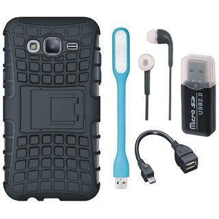 Moto C Defender Back Cover with Kick Stand with Memory Card Reader, Earphones, USB LED Light and OTG Cable