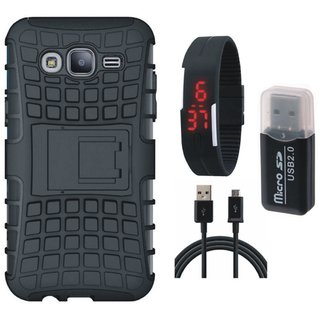 Samsung J5 Prime Shockproof Kick Stand Defender Back Cover with Memory Card Reader, Digital Watch and USB Cable