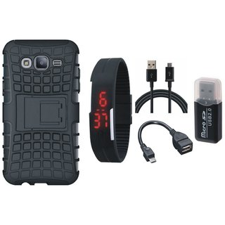 Samsung J5 Prime Dual Protection Defender Back Case with Memory Card Reader, Digital Watch, OTG Cable and USB Cable
