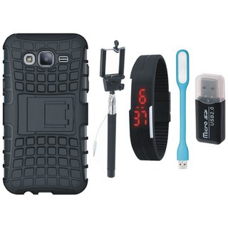 Samsung J5 Prime Shockproof Kick Stand Defender Back Cover with Memory Card Reader, Selfie Stick, Digtal Watch and USB LED Light