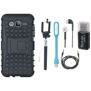 Moto E4 Shockproof Tough Armour Defender Case with Memory Card Reader, Selfie Stick, Earphones, USB LED Light and AUX Cable