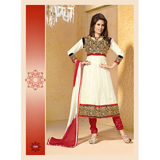 Khushali Women's White Cotton ANarkali Suit
