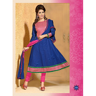 Khushali Women's Blue Cotton Unstitched Anarkali Suit