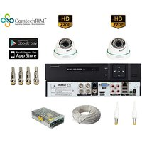 COMTECHRIM 1 Mp CCTV Camera 2 Dome With DVR, Power Supply, Connectors  Wire