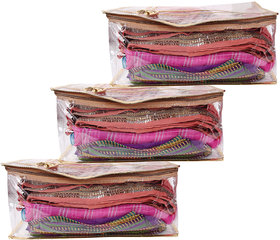 GOLDEN HEAVY PLASTIC GOOD QUALITY SAREE COVERS EACH HAS CAPACITY TO FIL 10-15 SAREES- 3PCS