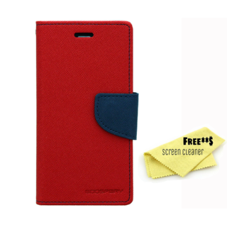 Mercury Diary Goospery Card Wallet Flip Cover Back Case for Samsung Galaxy J1 Ace - Red